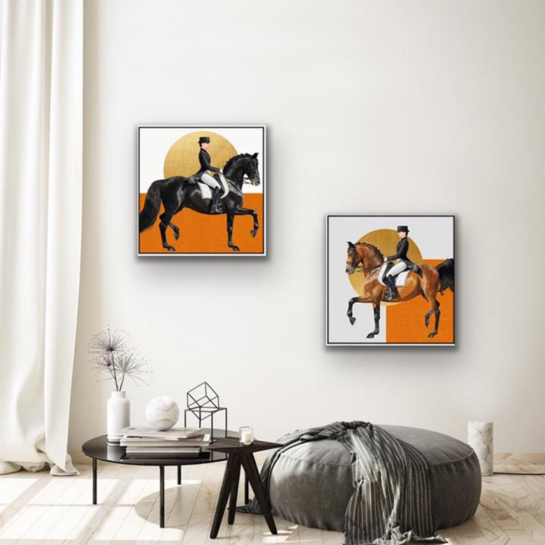 Canvas Print - Set caballos naranja