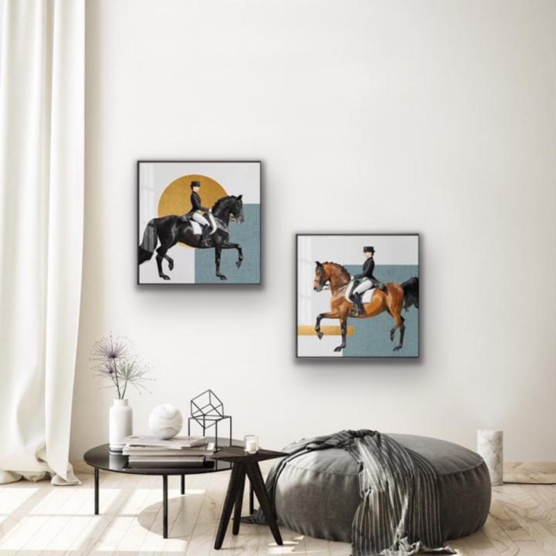 Canvas Print - Set caballos azul