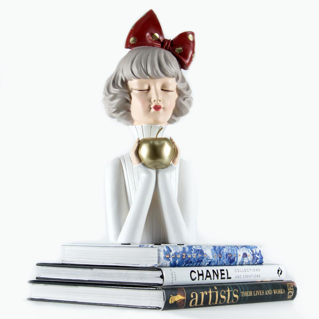 Gold Apple Girl Sculpture - Cool Ornaments