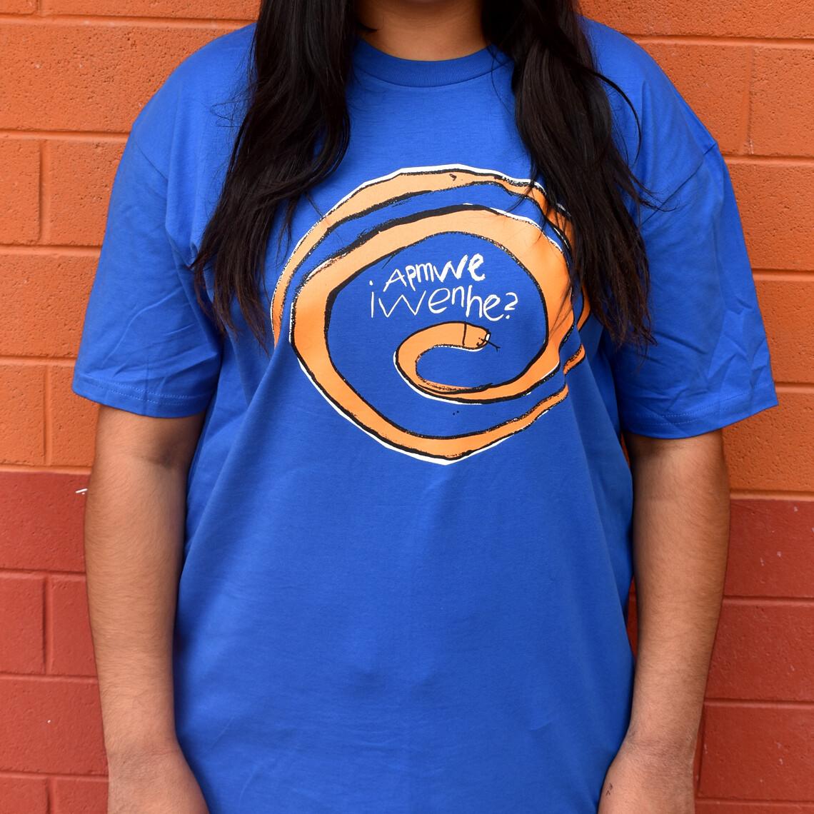 Apmwe Iwenhe? (What Snake?) T-shirt: blue