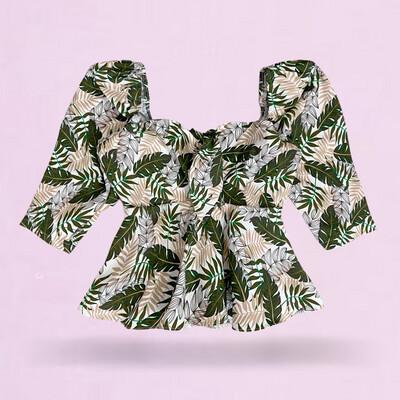 Blusa push-up estampada tropical