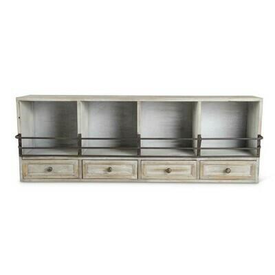 White Wash Cubby Shelf