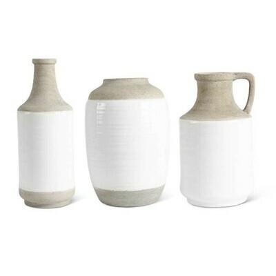 White & Natural Stone Vase (13.5 in)