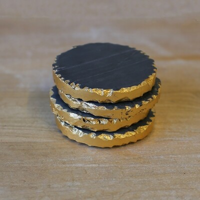 Marble Coasters Black/Gold