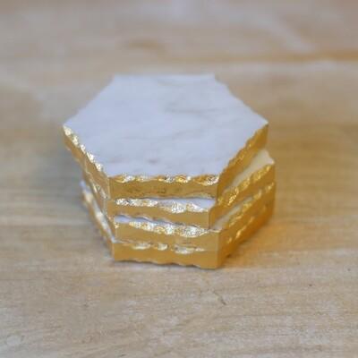 Marble Coaster Set White/Gold