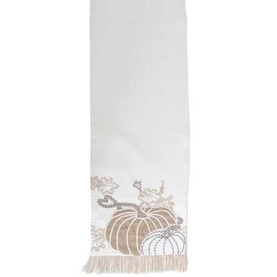 White Pumpkin Embroidered Table Runner