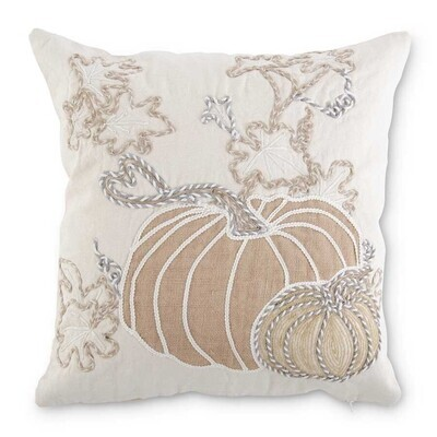 White Pumpkin Embroidered Pillow