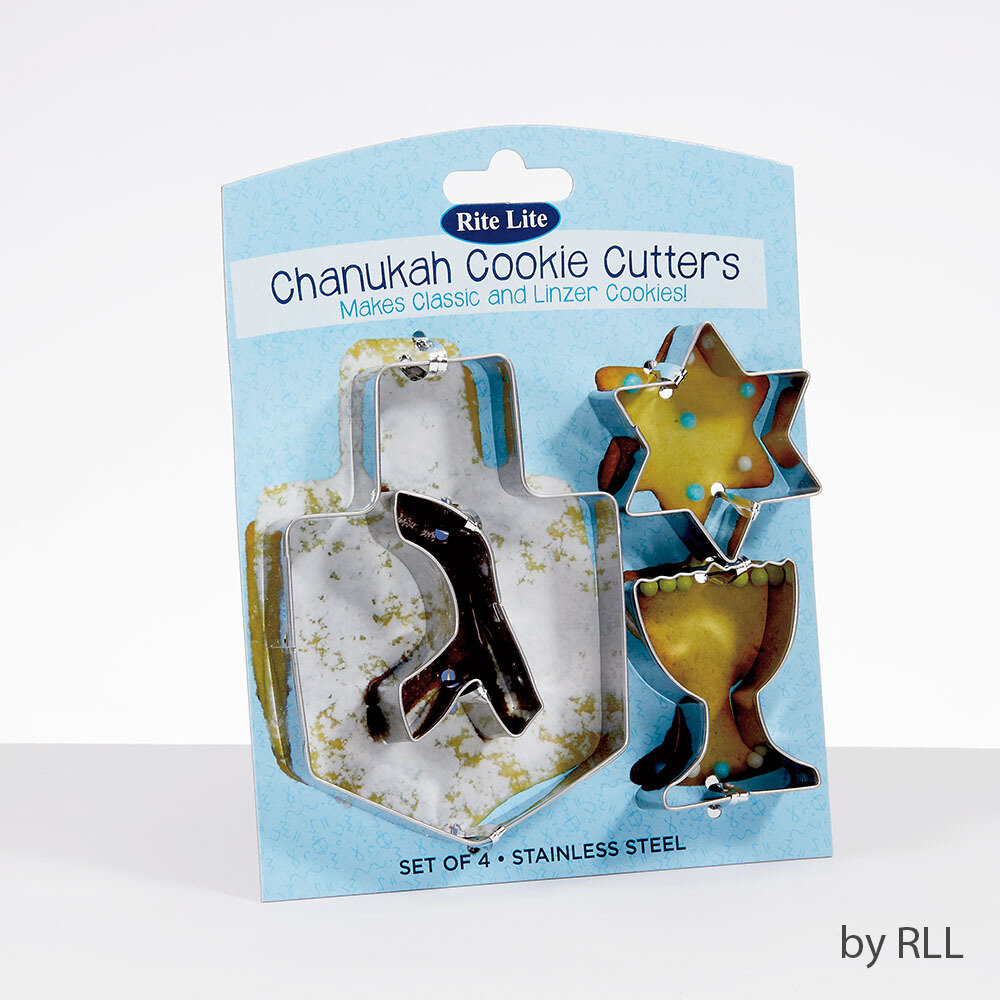 CHANUKAH COOKIE CUTTERS, STAINLESS, 4