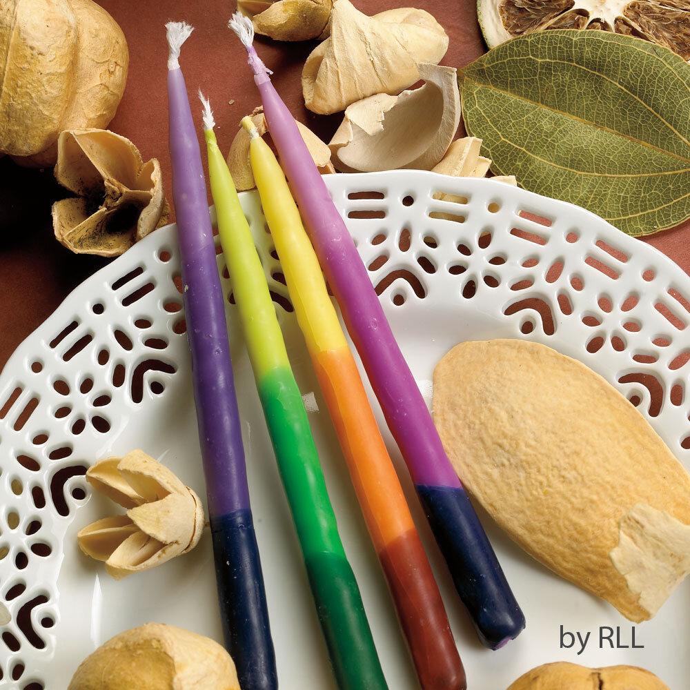 CHANUKAH CANDLES, RAINBOW TRI-COLOR,