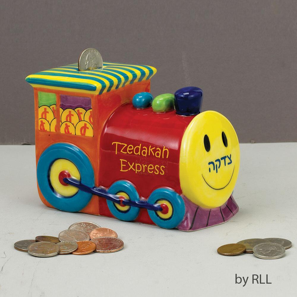 TZEDAKAH BOX, TRAIN, CERAMIC
