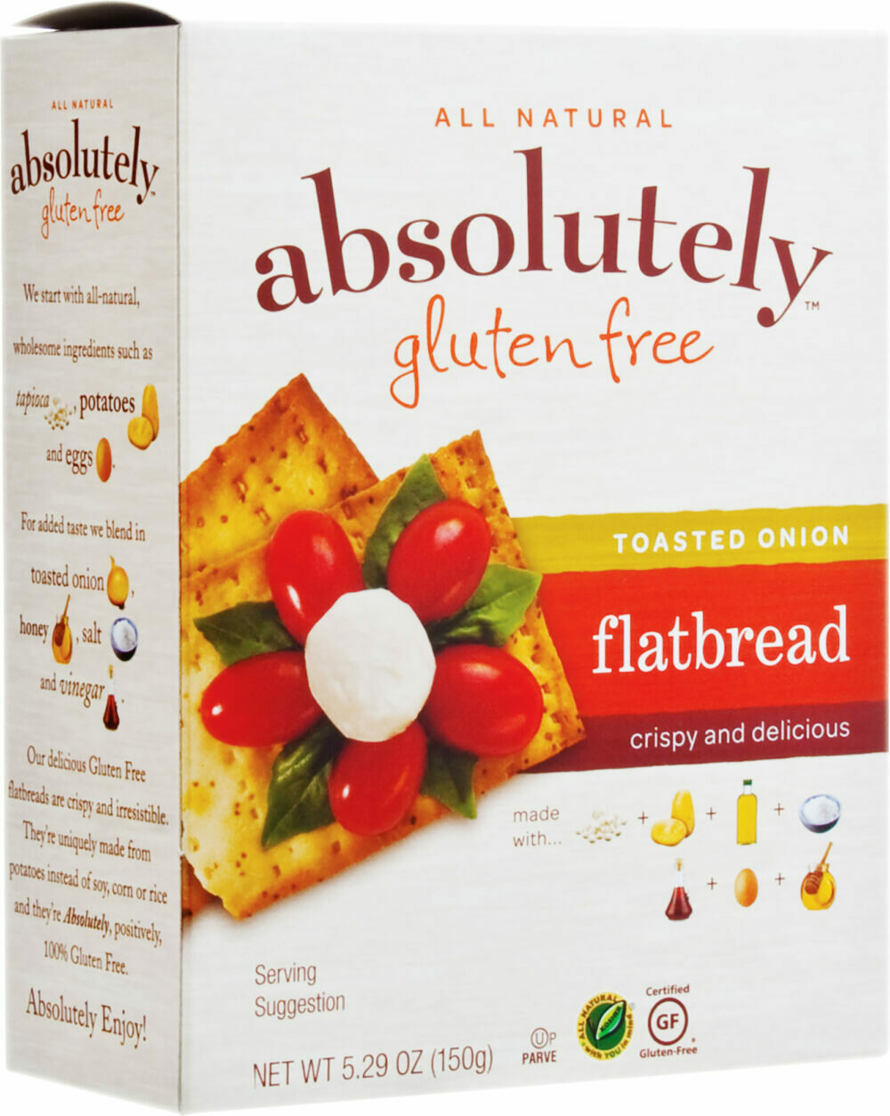 Toasted Onion Flatbreads GF 5.2oz Absolutely KP