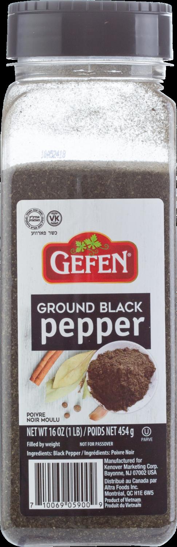 Ground Black Pepper 16oz Gefen Y