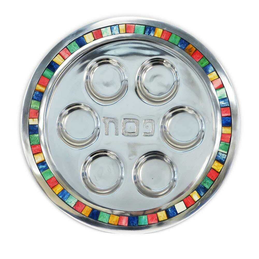 Aluminum Natural Stone Inlay Round Seder Plate