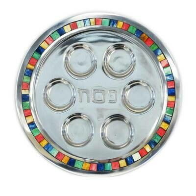 Aluminum Natural Stone Inlay Round Seder Plate