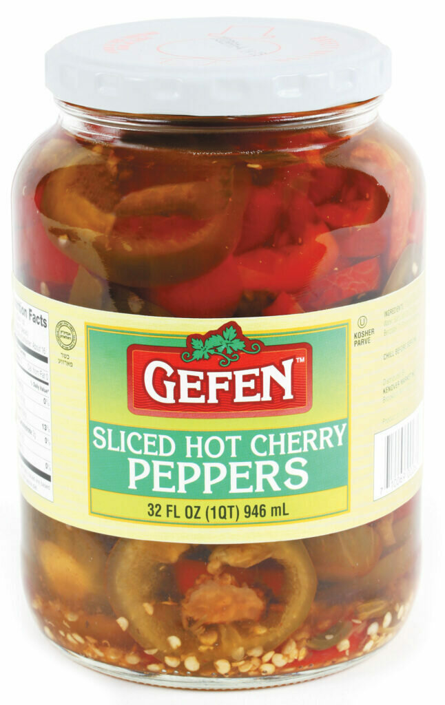 Sliced Hot Cherry Peppers Glass 32oz Gefen Y