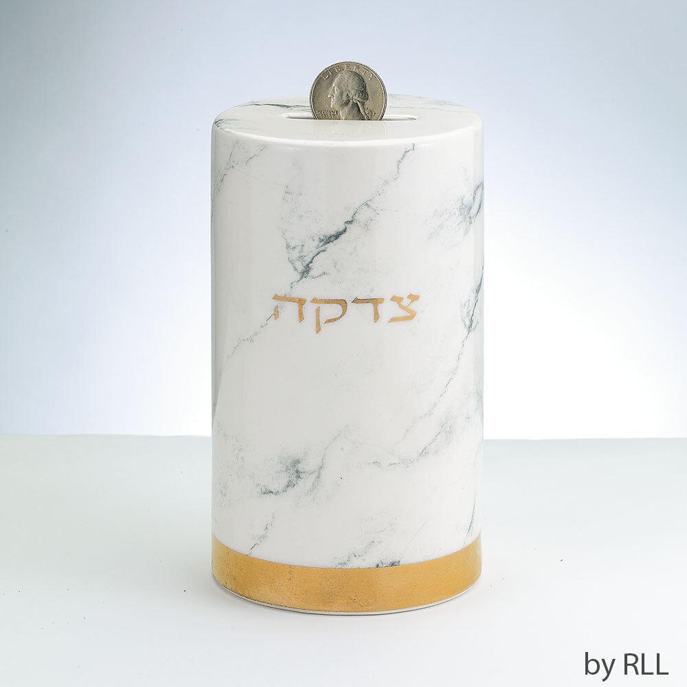 Marble Design Ceramic Tzedakah Box, Gold Accents