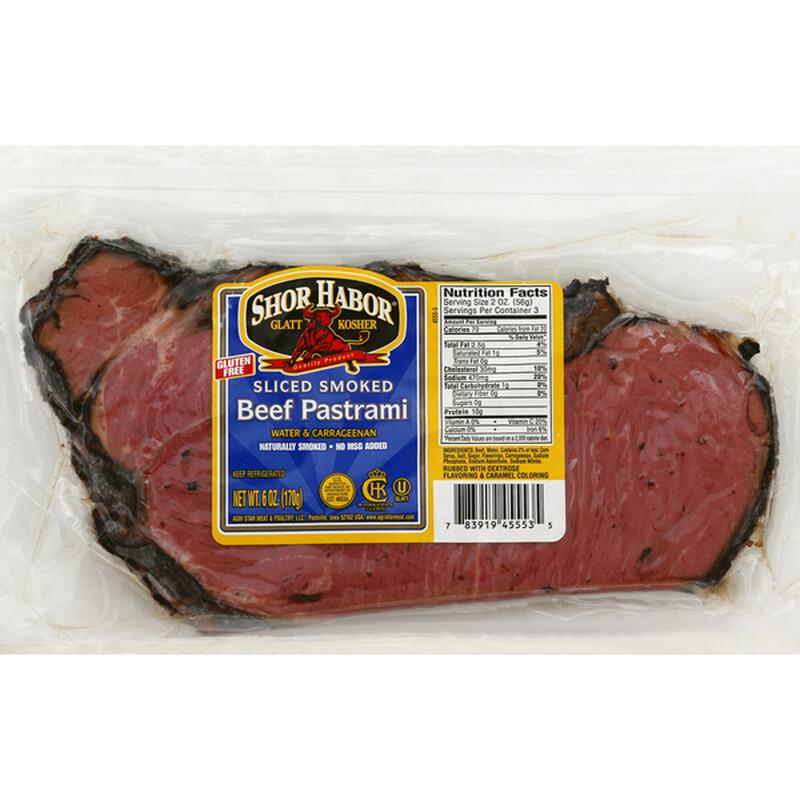 Sliced Smoked Beef Pastrami 6oz Shor Habor KP