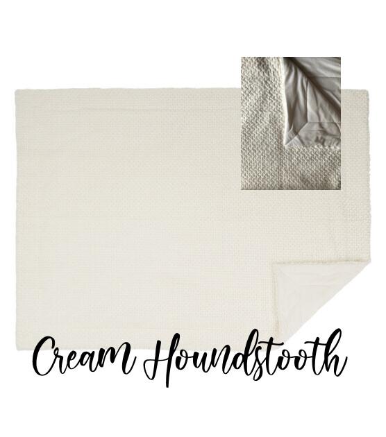 Throw Blanket -Cream Houndstooth