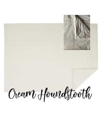 Throw Blanket -Cream Houndstooth