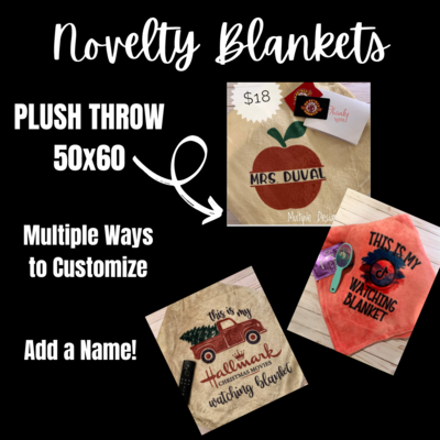 Novelty Plush Blanket-LIGHT GREY