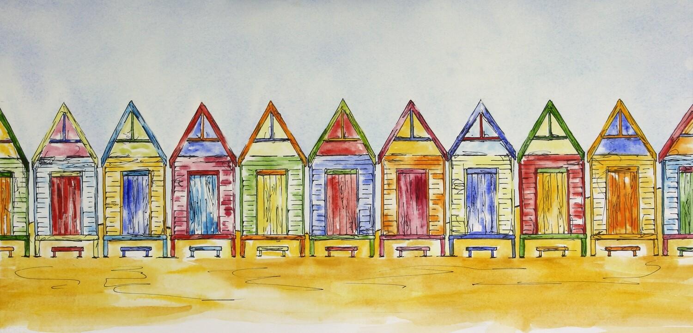 A Little Row of Colours - Original Art Beach Shacks Pen and Wash