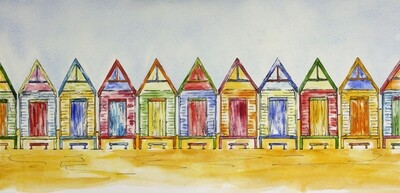 A Little Row of Colours - Original Art Beach Shacks Pen and Wash