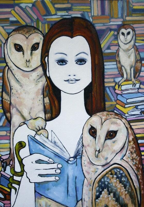 Goddess Athena Visiting an Australian Library - Original Art Oil on Canvas