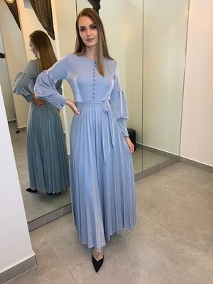 Sky Metallic Bouffant Sleeve Dress