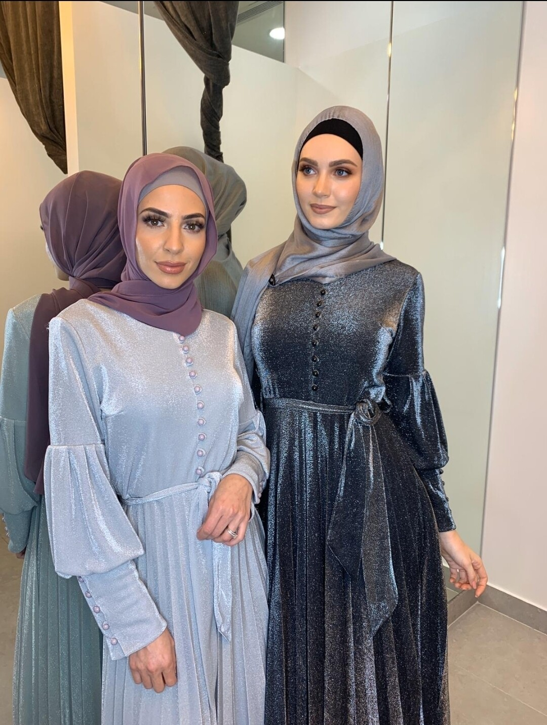 Metalic Bouffant Sleeve Dress