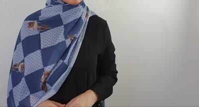 Floral Polka Hijab Blue