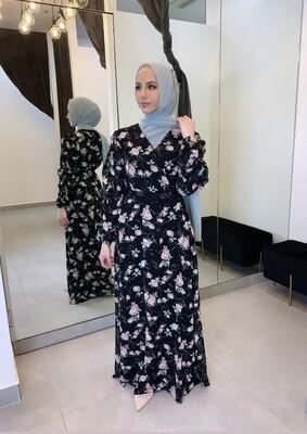 Flutter Dress Black Floral