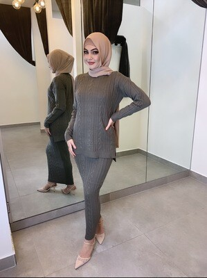 Knit Style Set Khaki