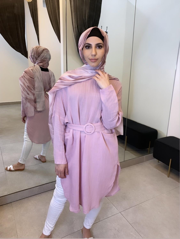 Linen Belted Blouse Light Pink