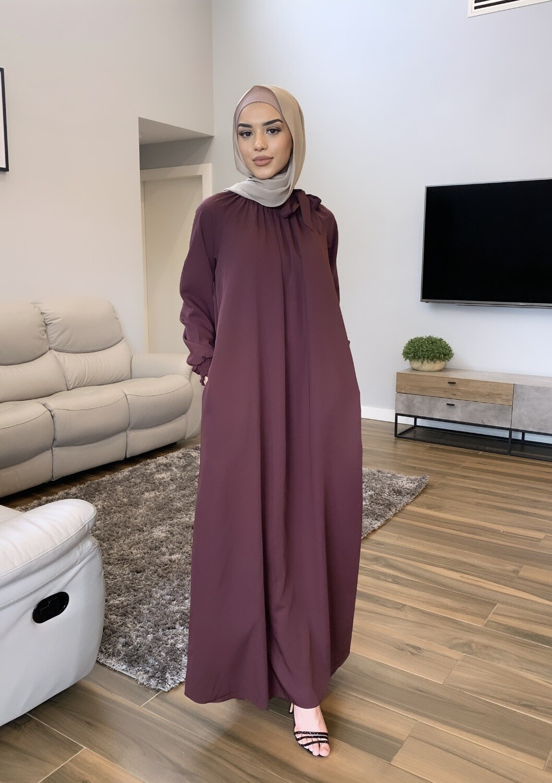 Turkish Bow Dress Maroon