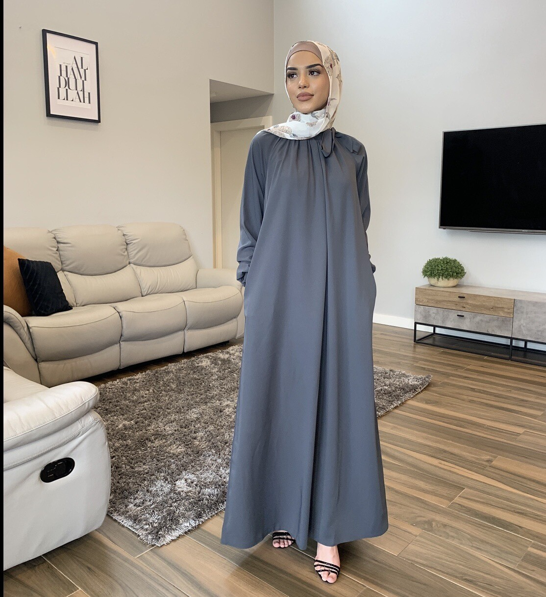 Turkish Bow Dress Grey