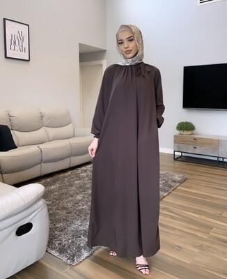 Turkish Bow Dress Brown