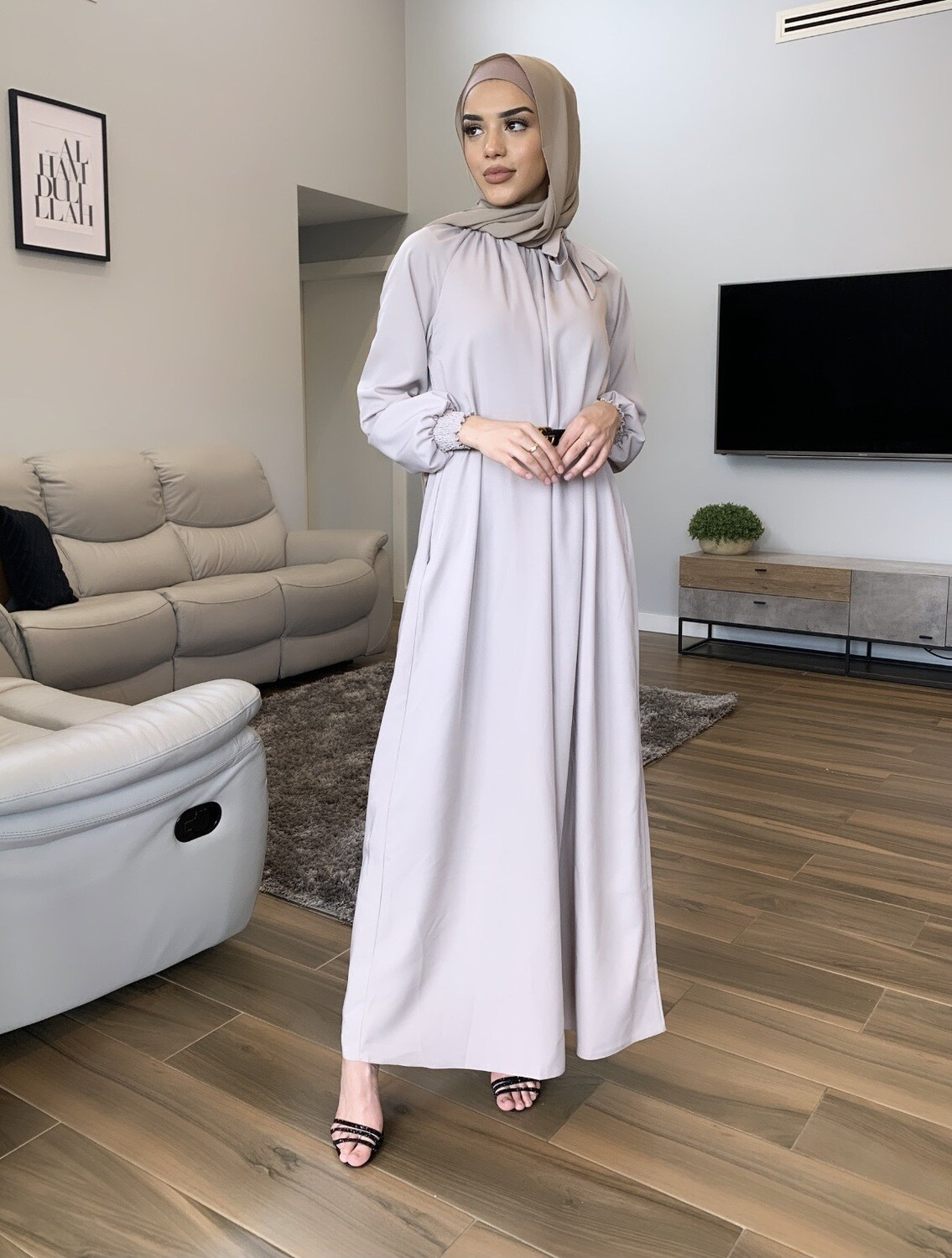 Turkish Bow Dress Nude