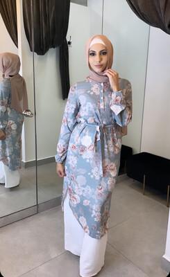 Belted Blouse Floral Blue