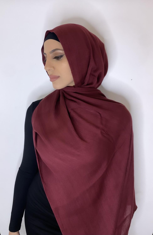 Tassel Free Cotton Hijab Maroon