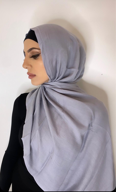 Tassel Free Cotton Hijab Silver