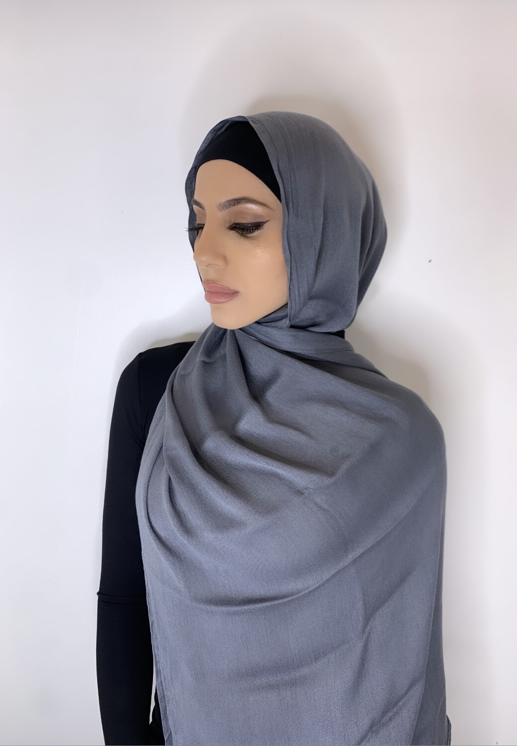 Tassel Free Cotton Hijab Grey 39
