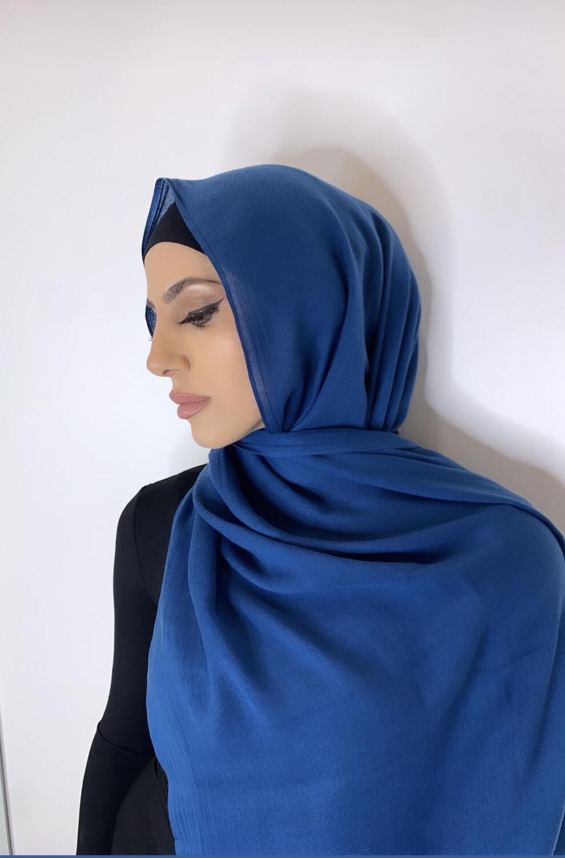 Tassel Free Cotton Hijab Royal Blue