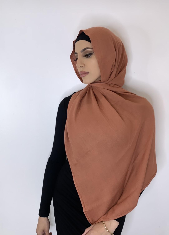 Tassel Free Cotton Hijab Brick 74