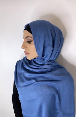 Tassel Free Cotton Hijab Blue