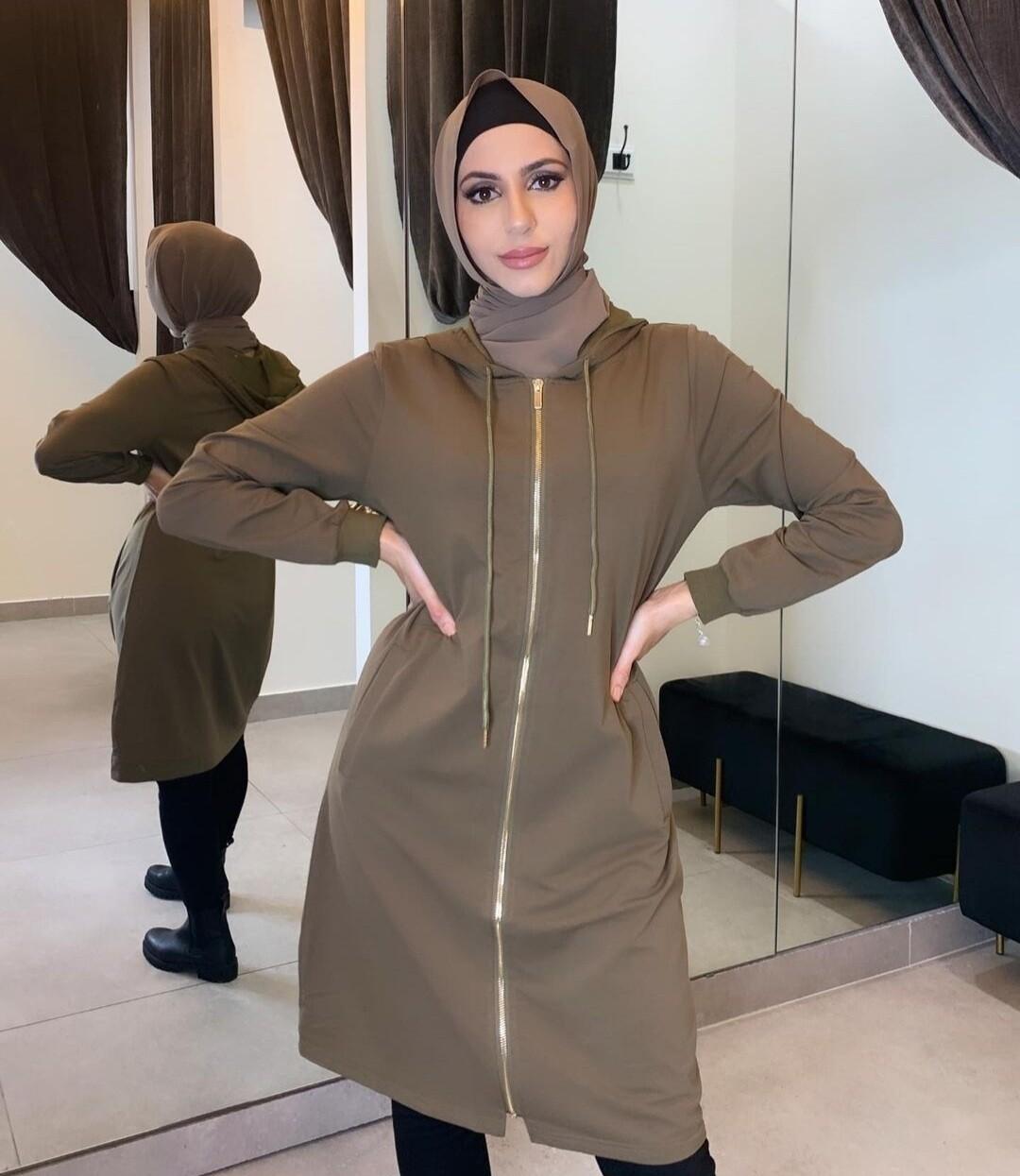 Hooded zip up jacket khaki