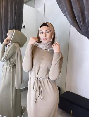 Hooded Abaya Dress Beige