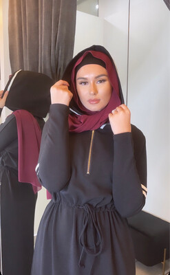 Hooded Abaya Dress Black