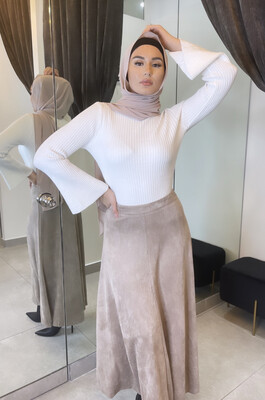 Faux Suede Skirt Nude
