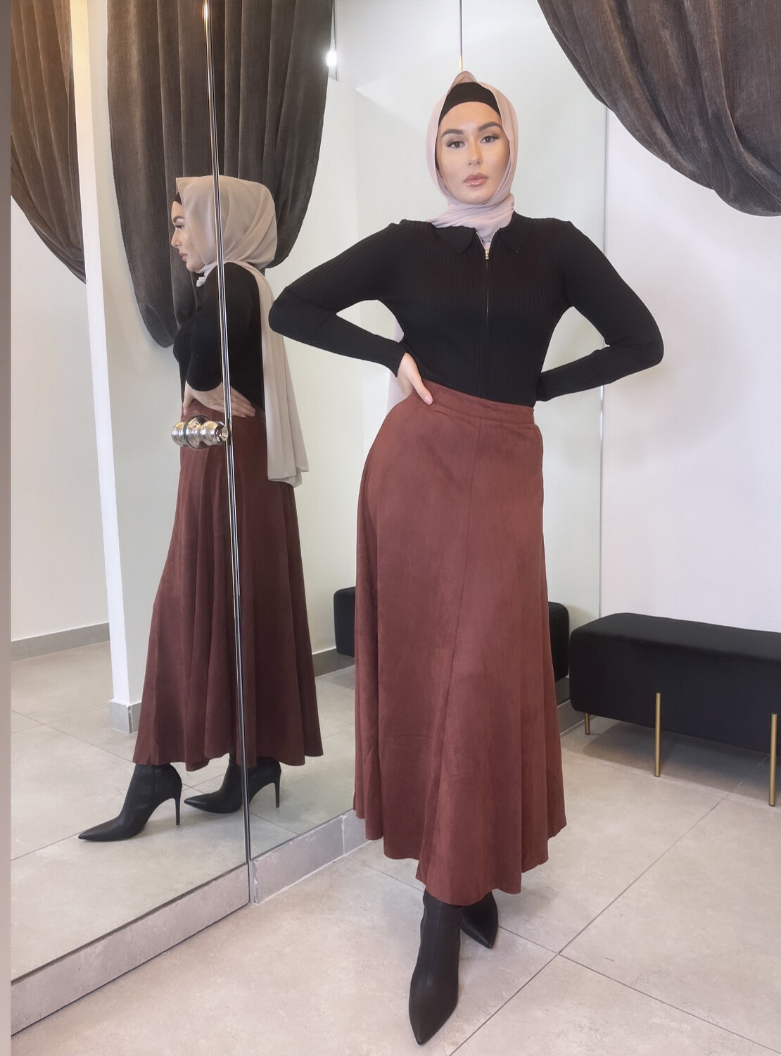 Faux Suede Skirt Brick