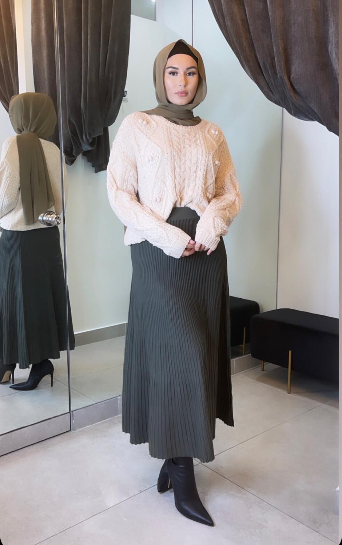 Knit Skirt Khaki